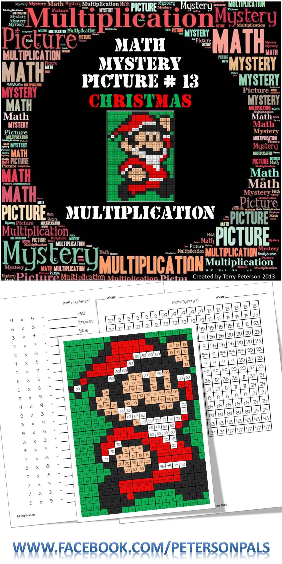 Christmas Math Mystery Picture #13 ~ Multiplication