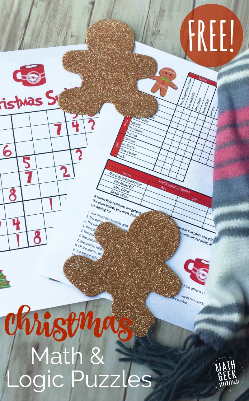 Christmas Math Puzzles For Kids {Free!}