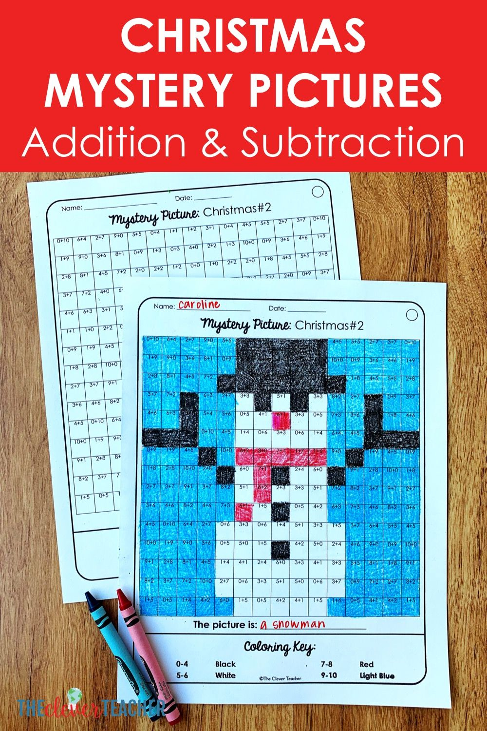 Christmas Mystery Pictures Addition & Subtraction Math Facts