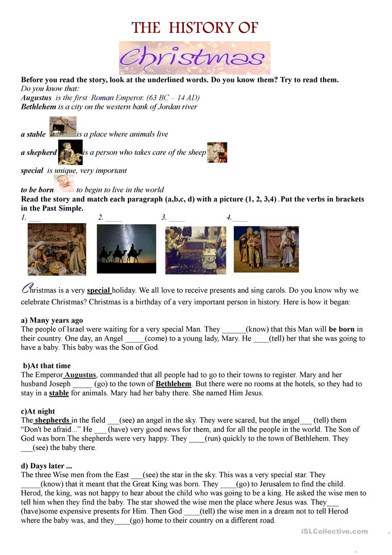 Christmas. Nativity. The Birth Of Jesus - English Esl