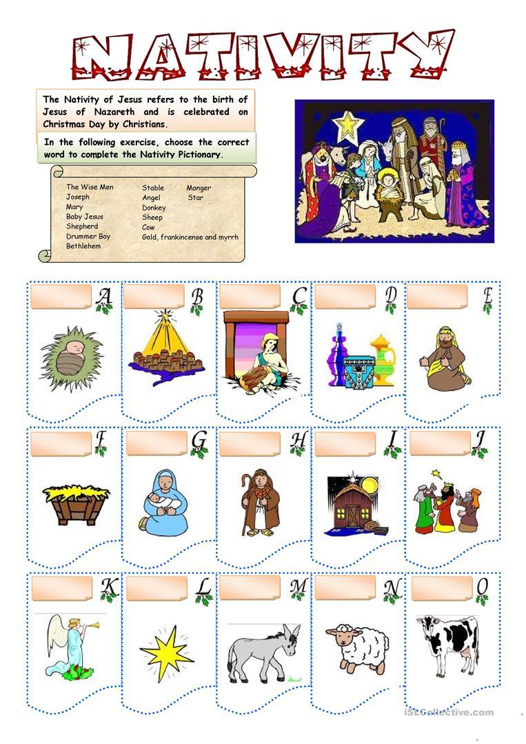 Christmas - Nativity Vocabulary - English Esl Worksheets For