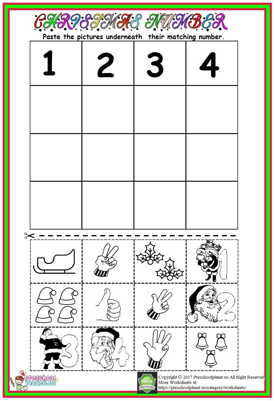 Christmas Number Worksheet | Number Worksheets, Preschool