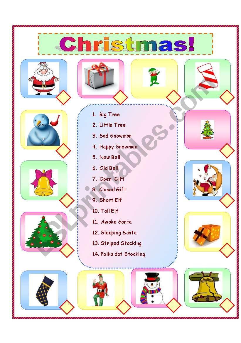 Christmas Opposites - Esl Worksheet703Davidfrog