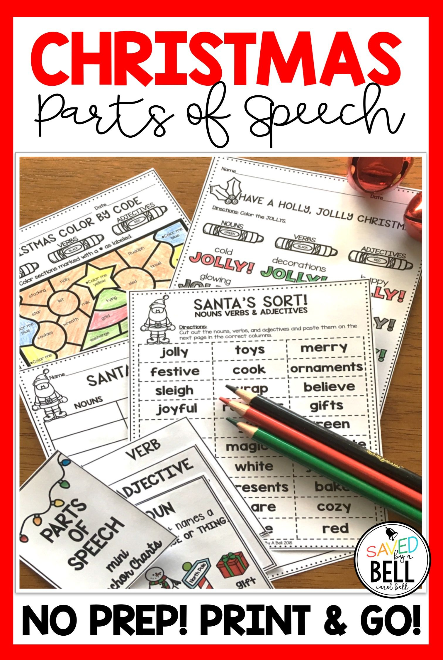Christmas Parts Of Speech Worksheets | Parts Of Speech