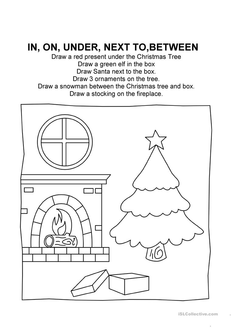 Christmas Prepositions - English Esl Worksheets For Distance
