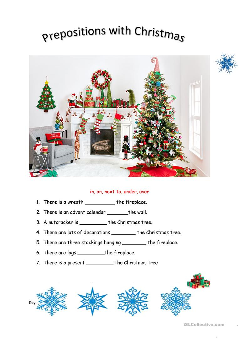 Christmas-Prepositions - English Esl Worksheets For Distance