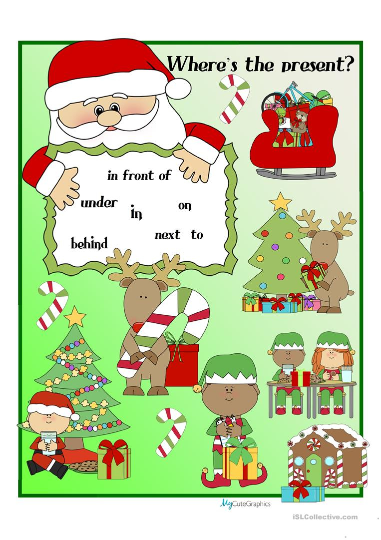Christmas Prepositions Of Place - English Esl Worksheets For