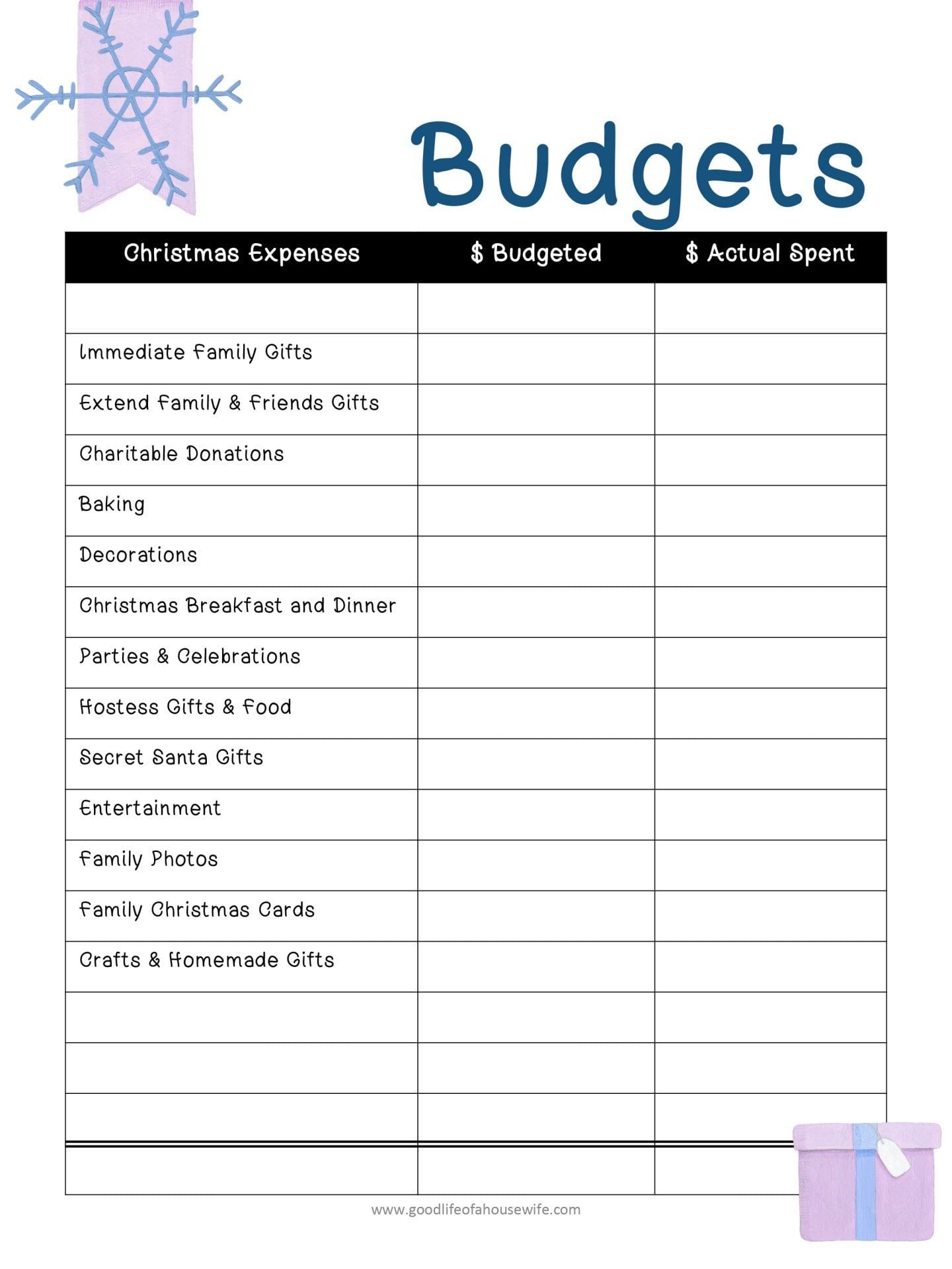 Christmas Printables And Budget Planner – Good Life Of A