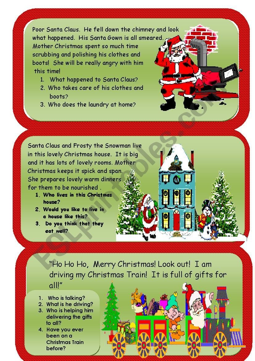 Christmas Reading And Writing Comprehension Worksheet 2