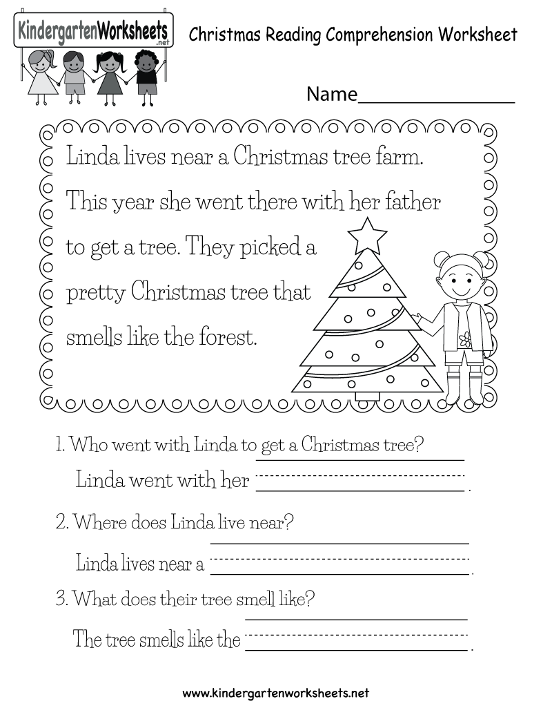 Christmas Reading Worksheet - Free Kindergarten Holiday
