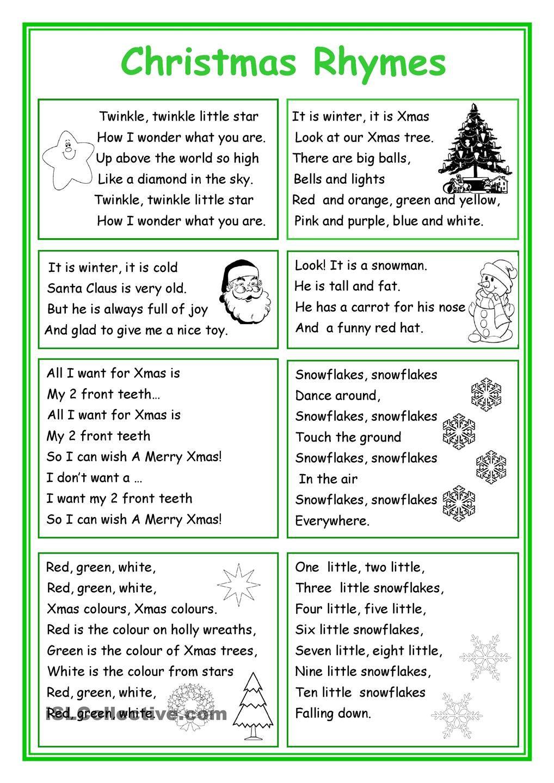 Christmas Rhymes | Christmas Worksheets, English Rhymes