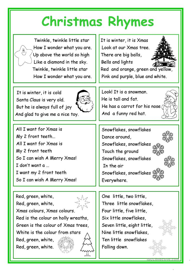 Christmas Rhymes - English Esl Worksheets For Distance