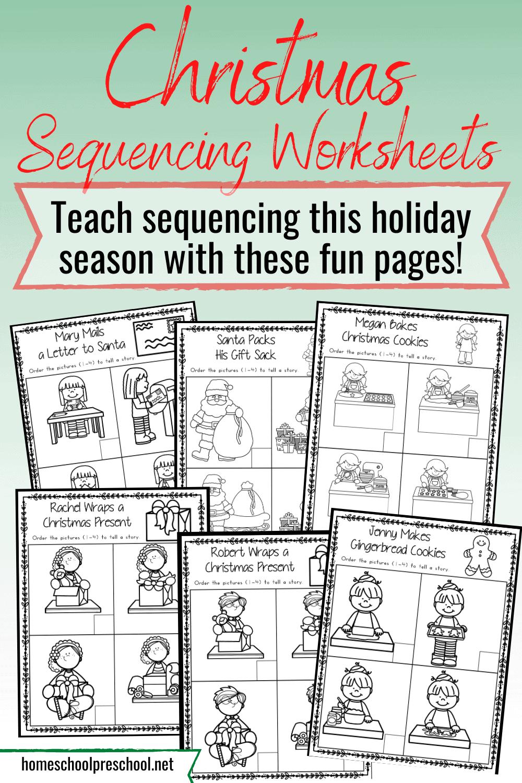 Christmas Sequence Worksheet Pack - Homeschool Preschool