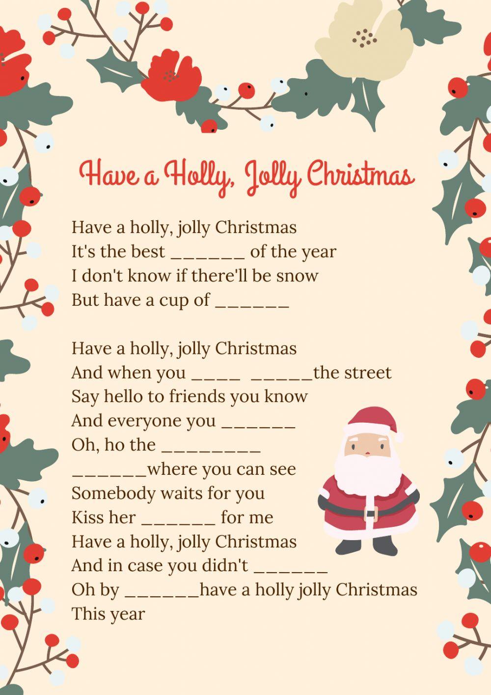 Christmas Songs Worksheets Worksheet