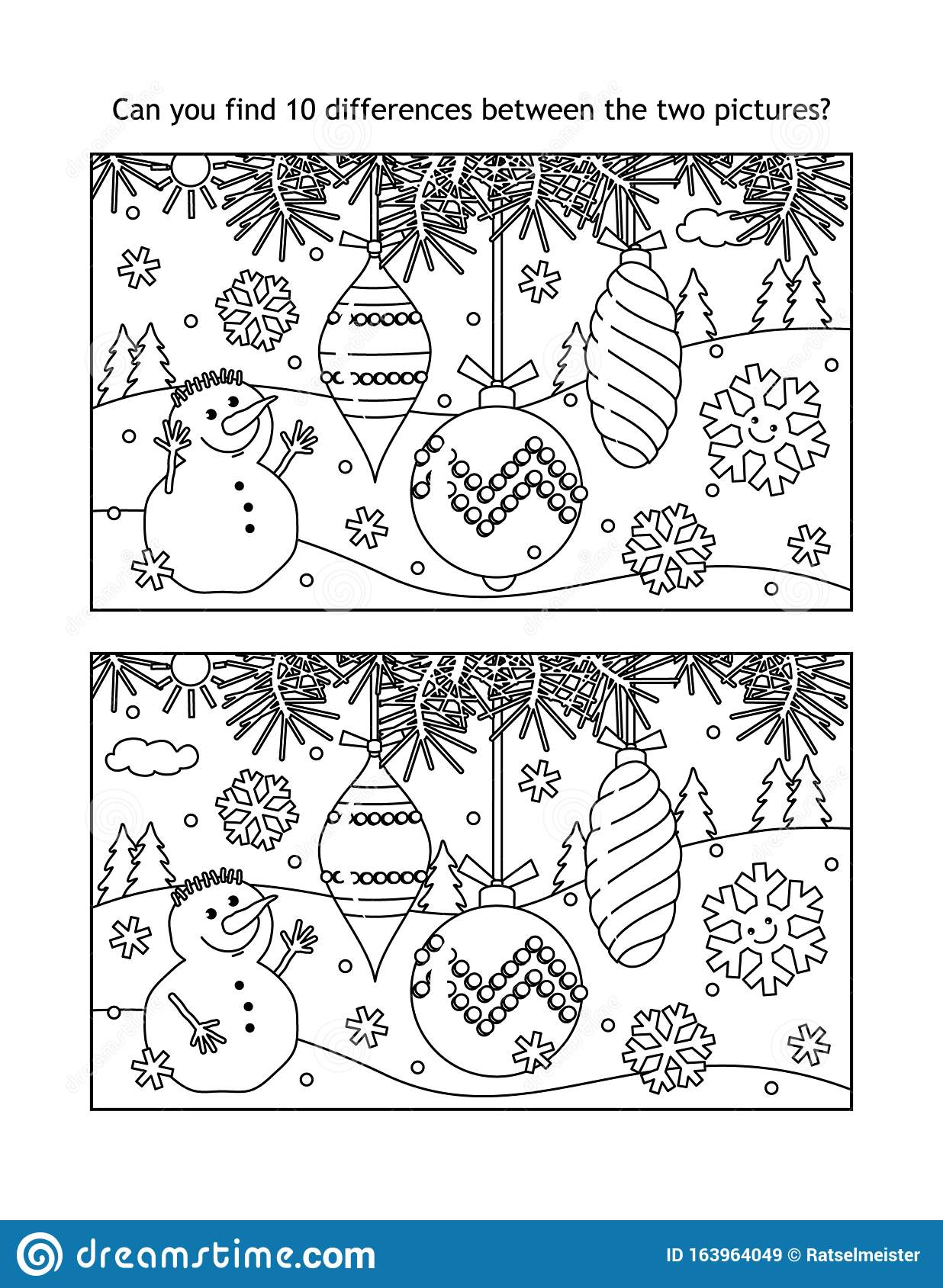 Christmas Spot Difference Stock Illustrations – 124
