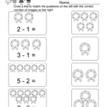 Christmas Subtraction Worksheet - Free Kindergarten Holiday