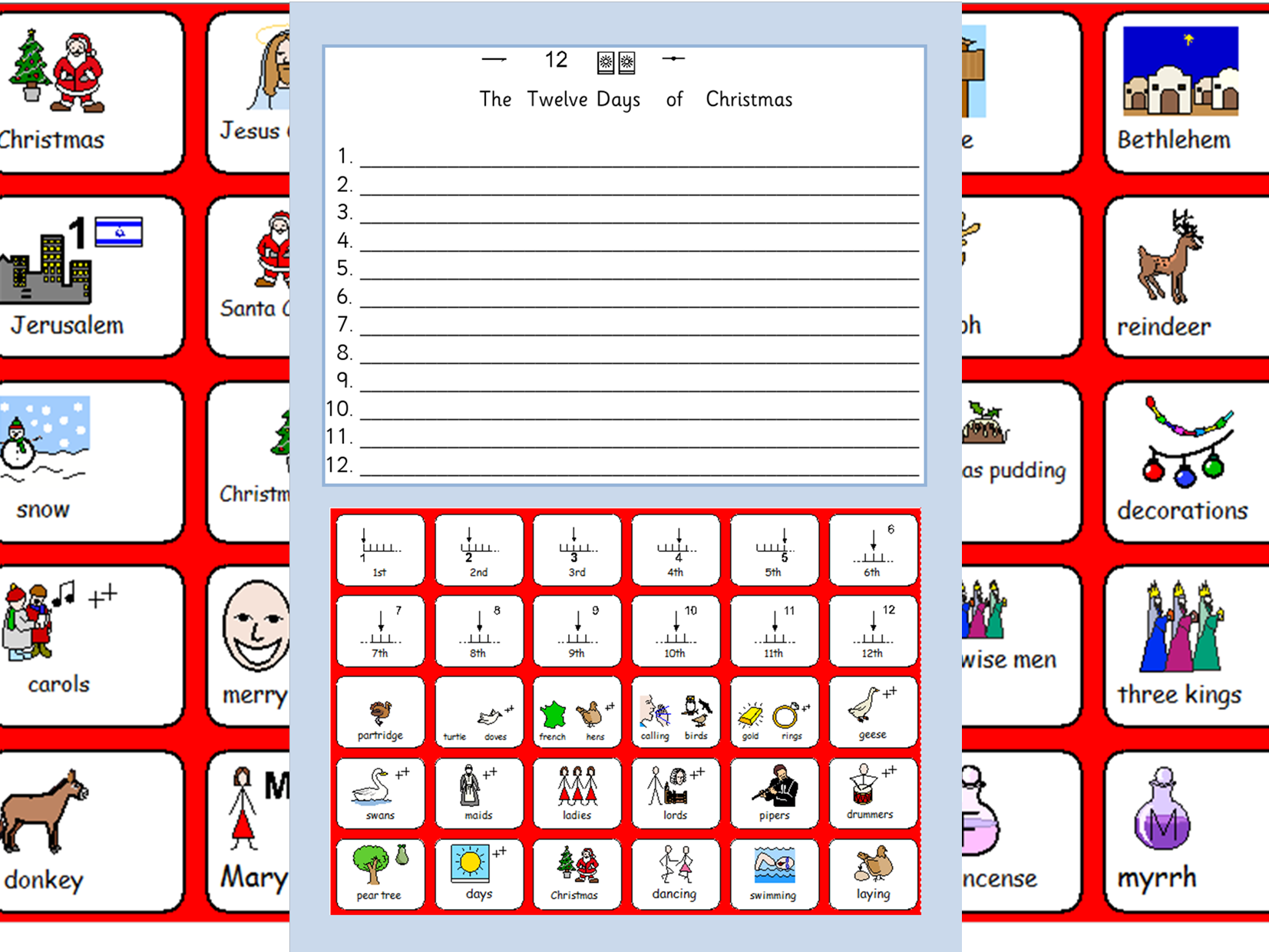 Christmas Symbols, The 12 Days Of Christmas Worksheet And Colours- Sen And  Lower Ability