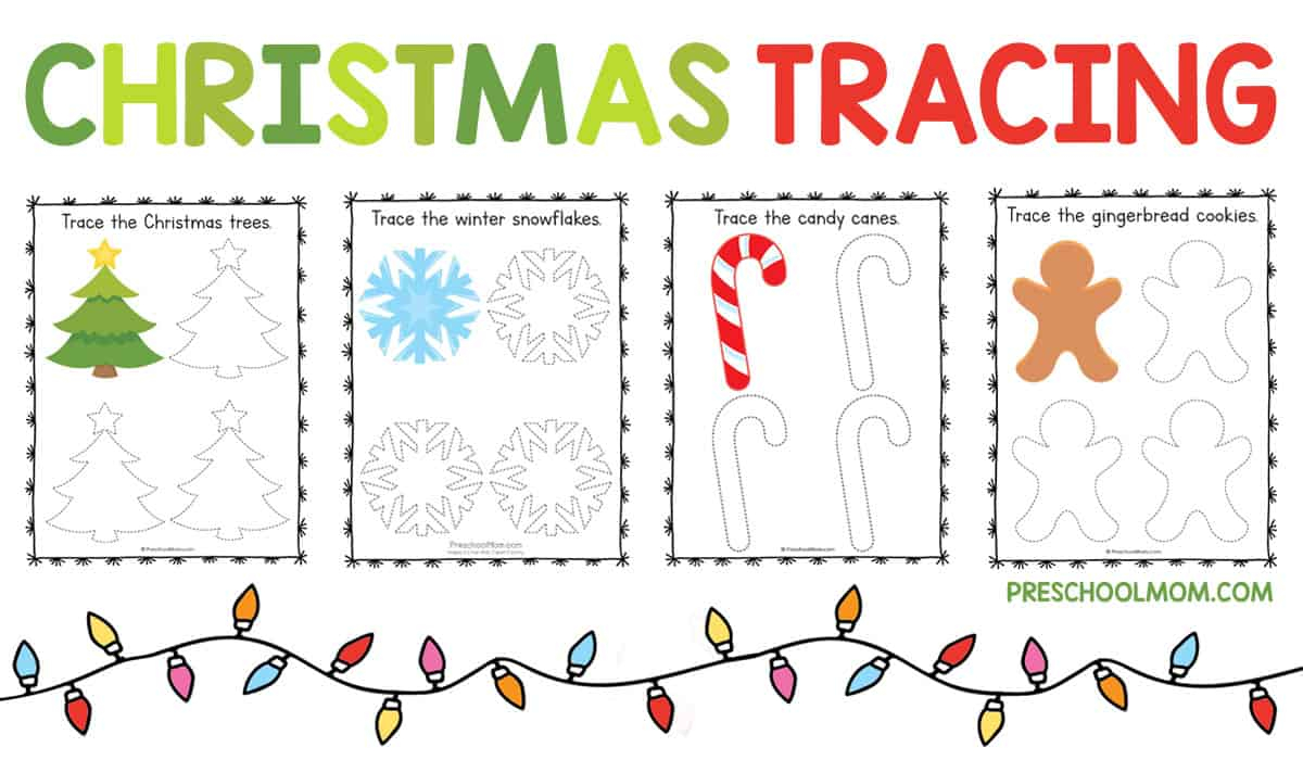 Christmas Symbols Tracing Worksheets - Preschool Mom