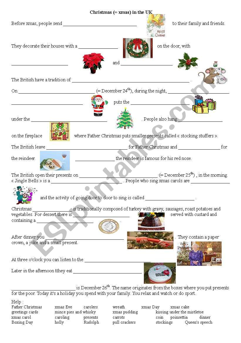 Christmas Traditions In The Uk - Esl Worksheet