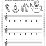 Christmas Treble Clef Note Reading Worksheets | Christmas
