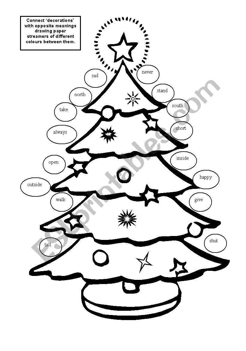 Christmas Tree With Antonyms. - Esl Worksheetvanfudzin