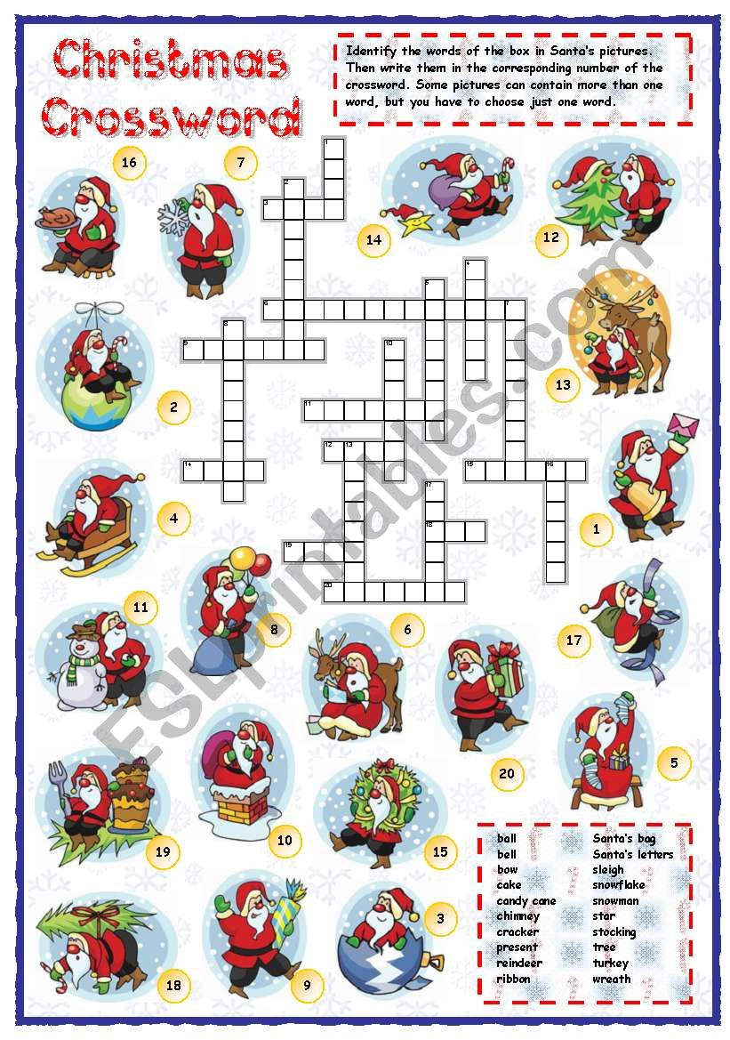 Christmas Vocabulary Crossword - Esl Worksheetmpotb