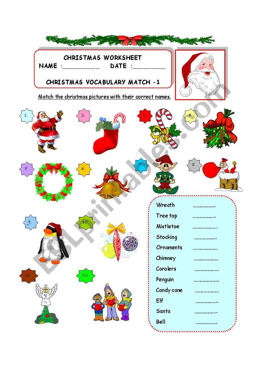 Christmas Vocabulary - Match -1 - Esl Worksheetzhlebor
