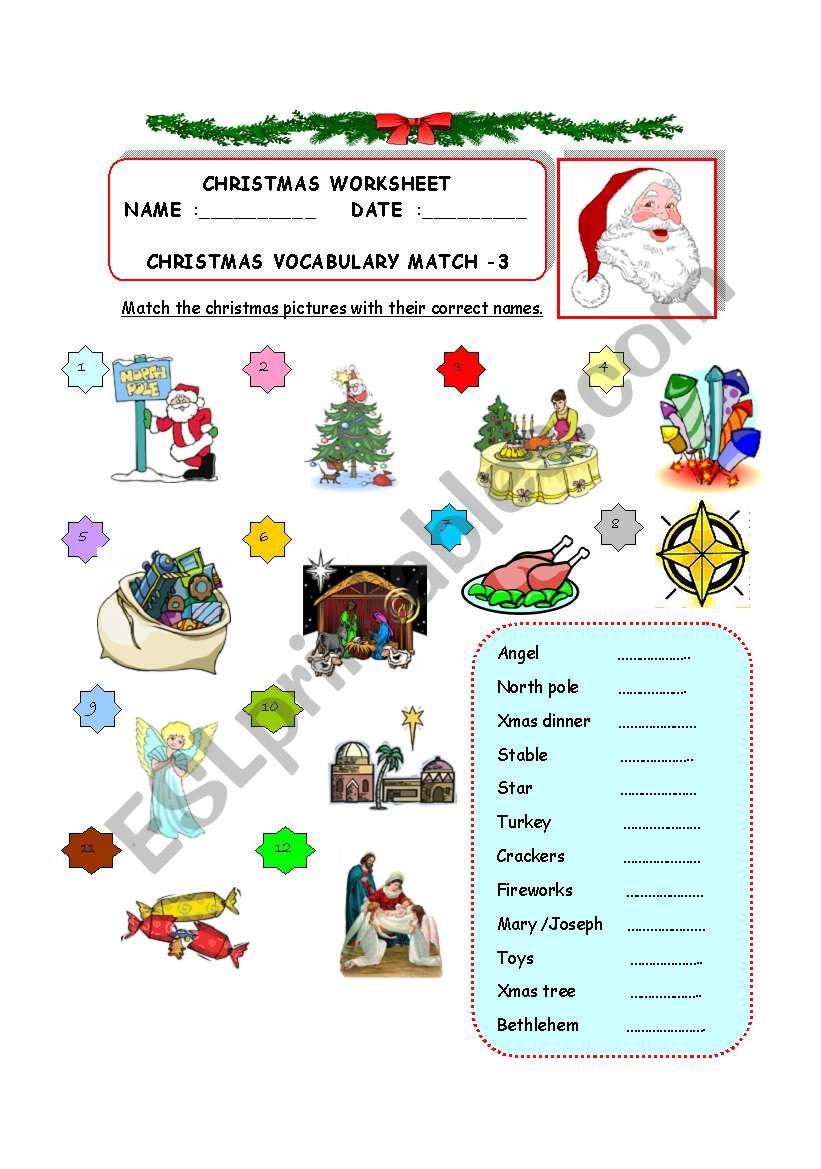Christmas Vocabulary Match - 3 - Esl Worksheetzhlebor