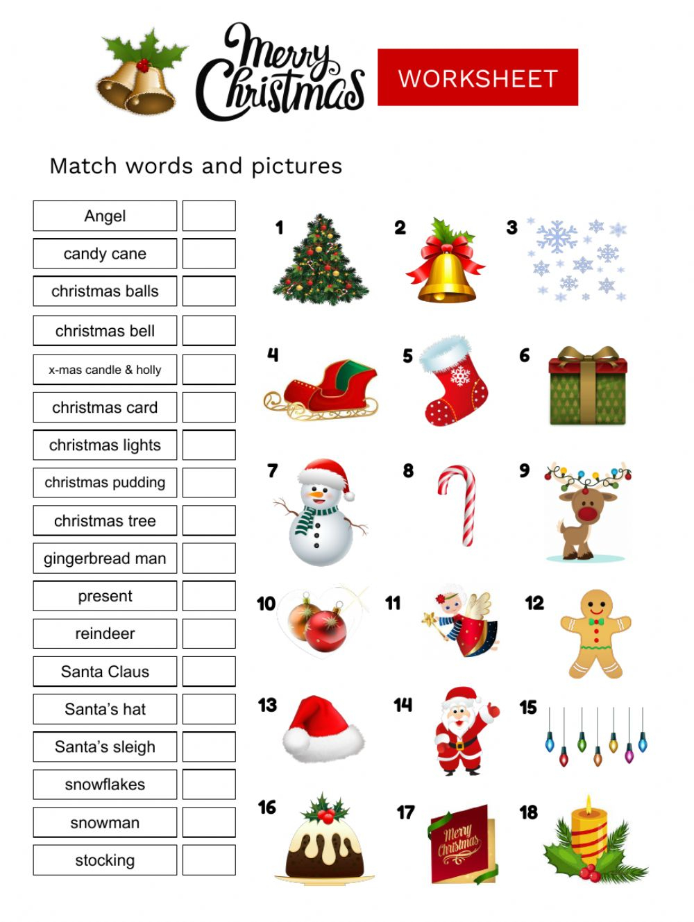 Christmas Vocabulary Online Activity