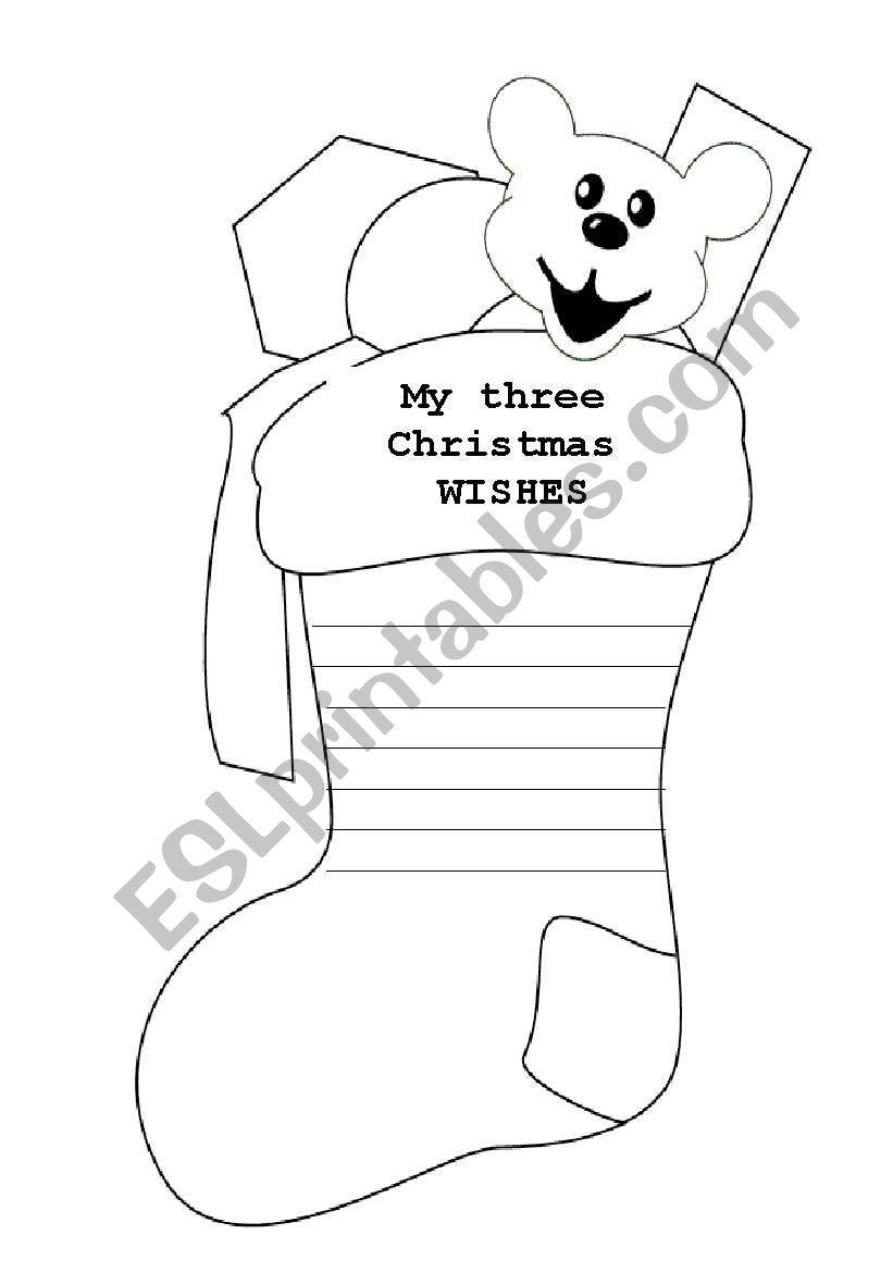 Christmas Wishes Stocking - Esl Worksheetsrks