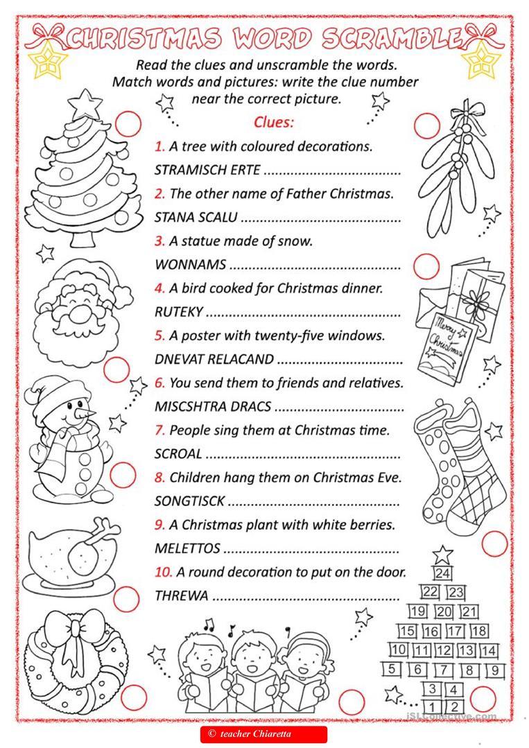 Christmas Word Scramble - English Esl Worksheets For