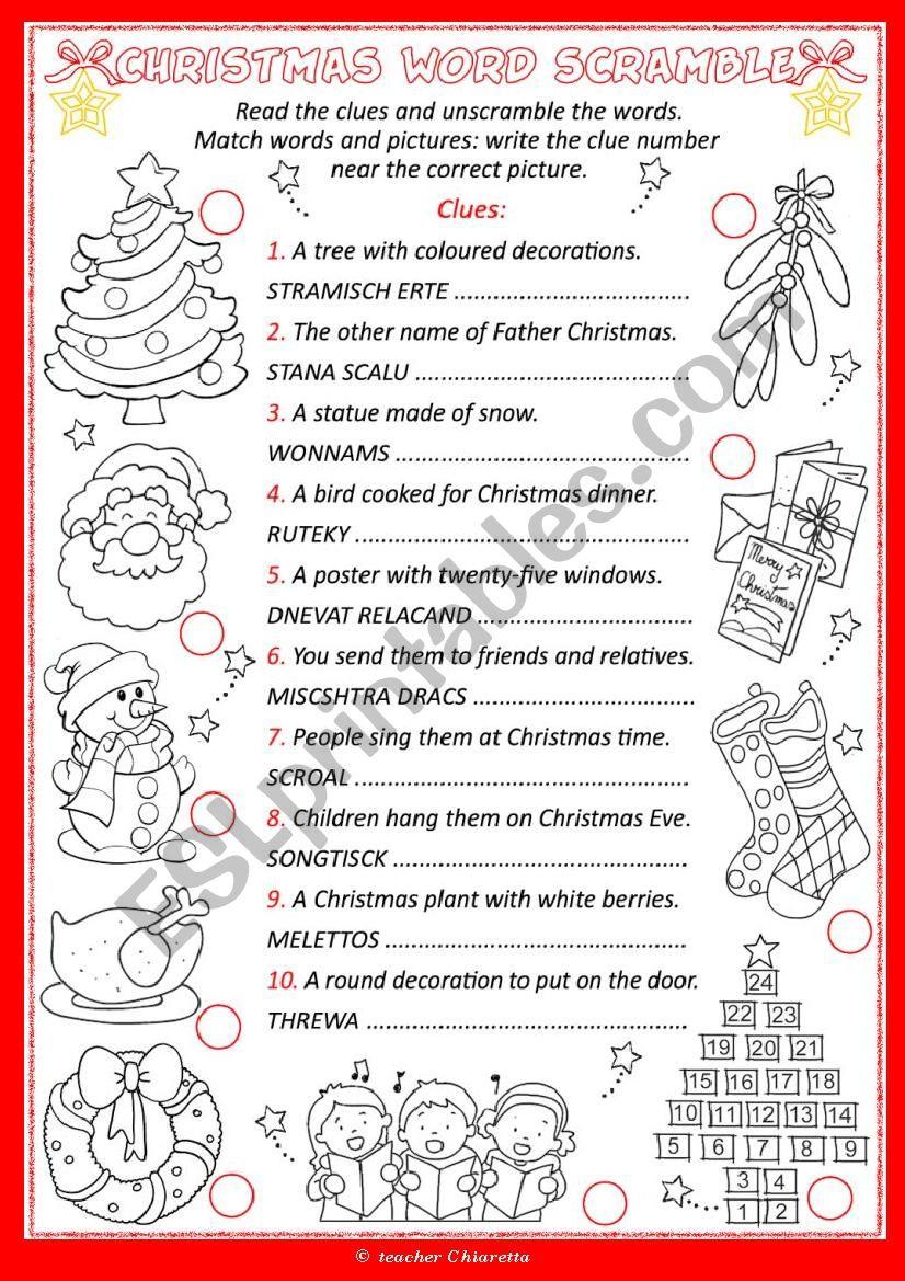 Christmas Word Scramble - Esl Worksheetchiaretta