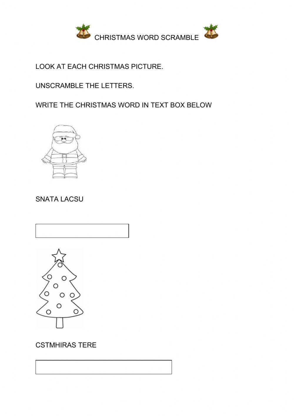 Christmas Word Scramble Worksheet