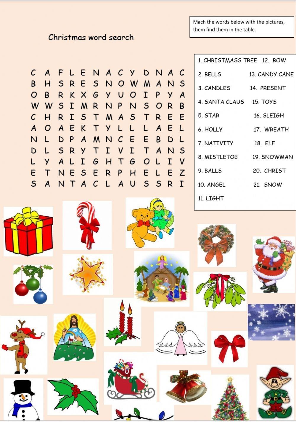 Christmas Word Search Online Worksheet