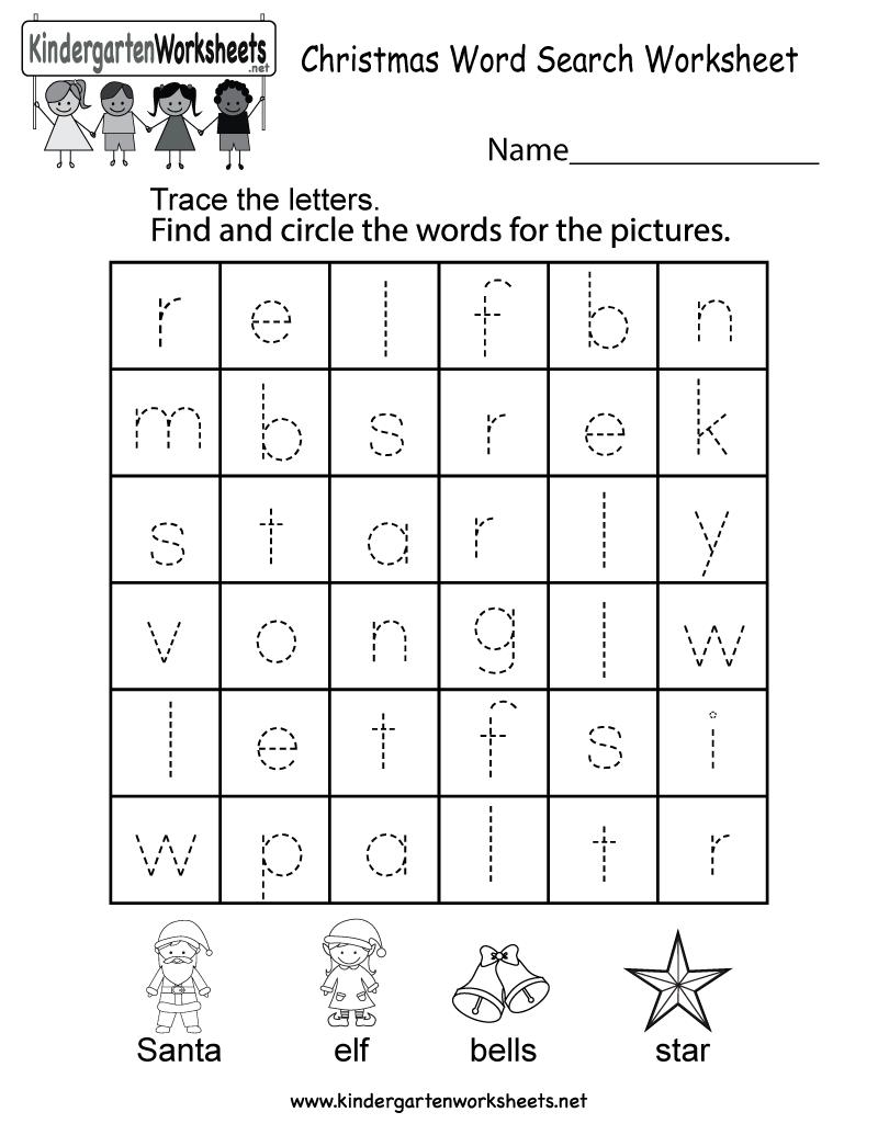 Christmas Word Search Worksheet - Free Kindergarten Holiday