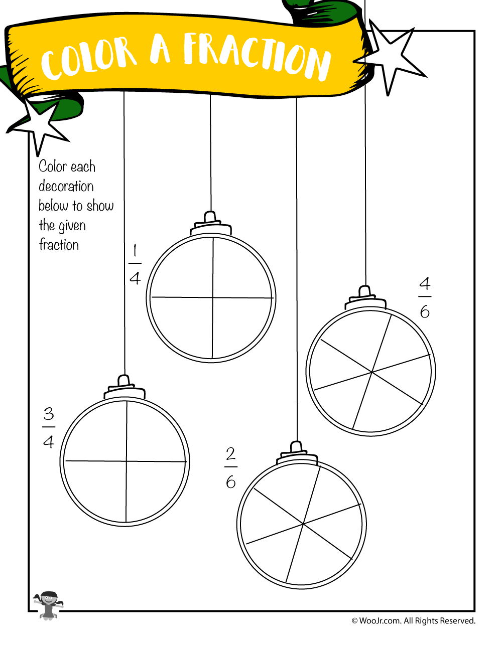 Color The Fraction Worksheet With Christmas Ornaments | Woo