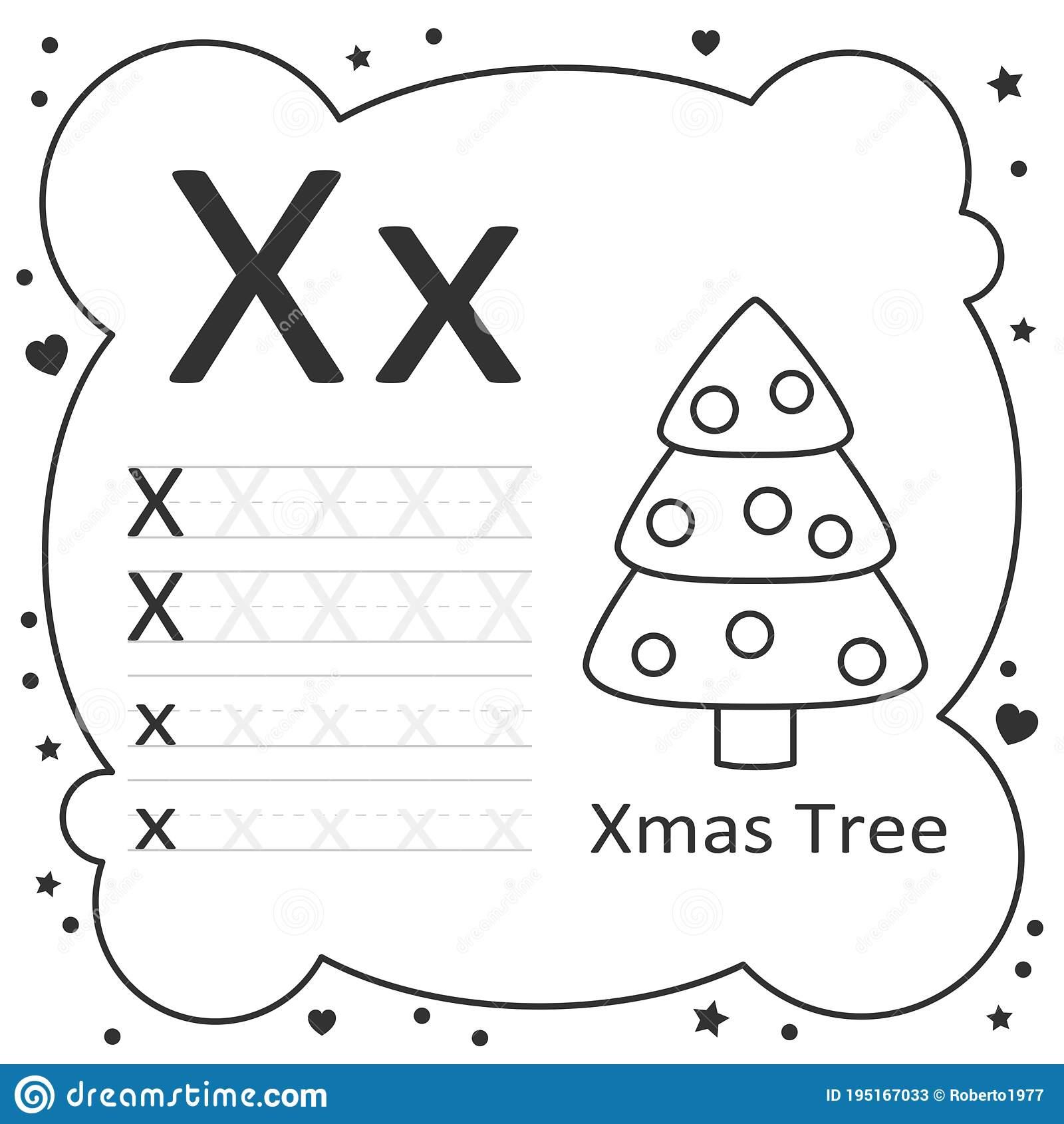 Coloring Alphabet Letters Xmas Tree Stock Illustration