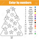 Coloring Page With Christmas Tree. Colornumbers Task, Printable..