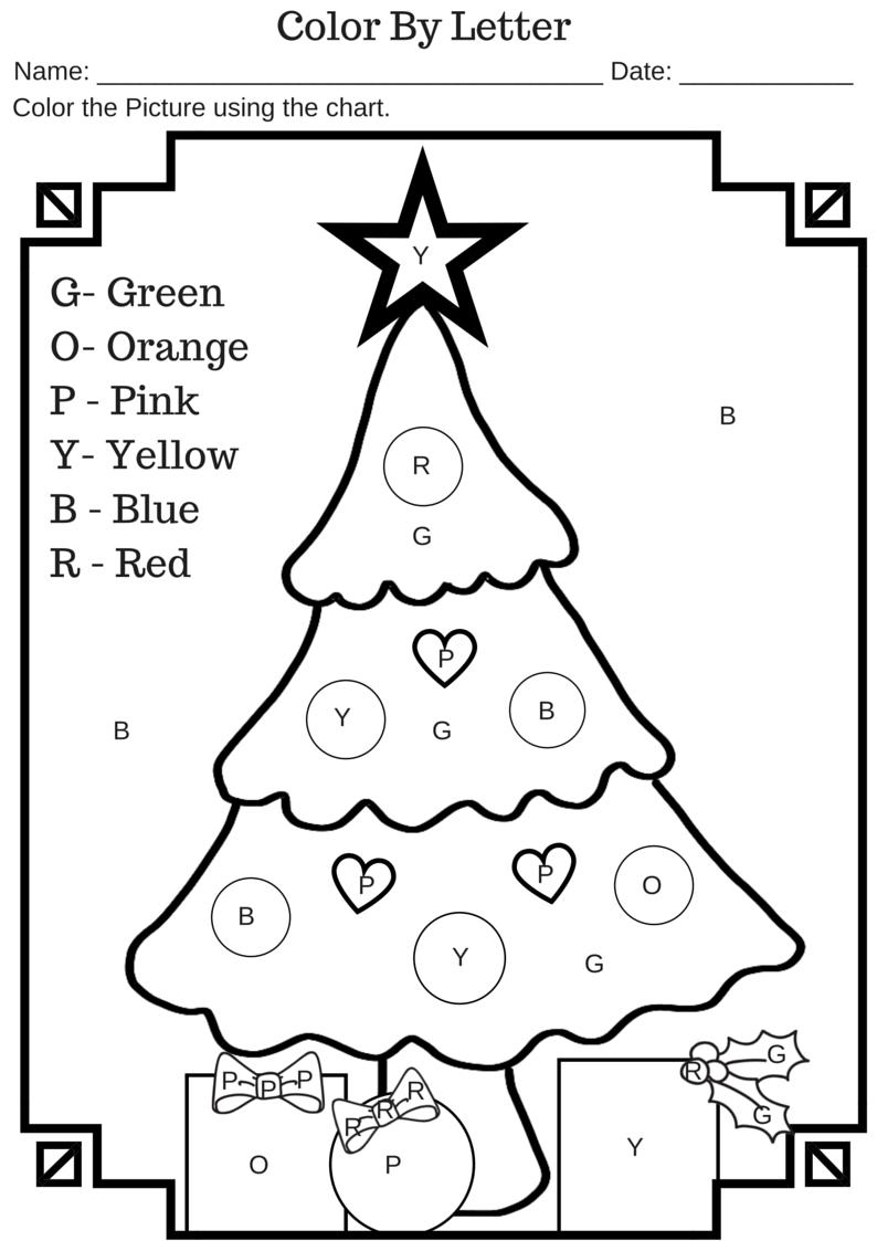 Colorletter Christmas Tree Free Printable Worksheet