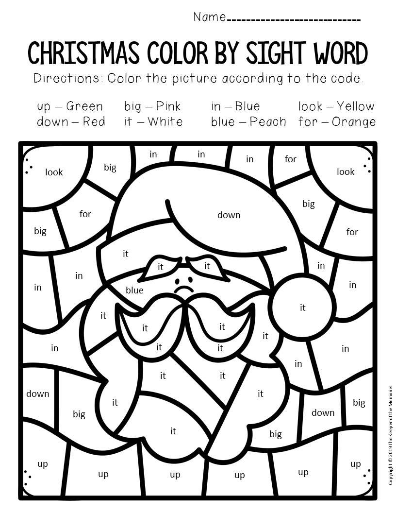 Colorsight Word Christmas Pre-K Worksheets Santa - The