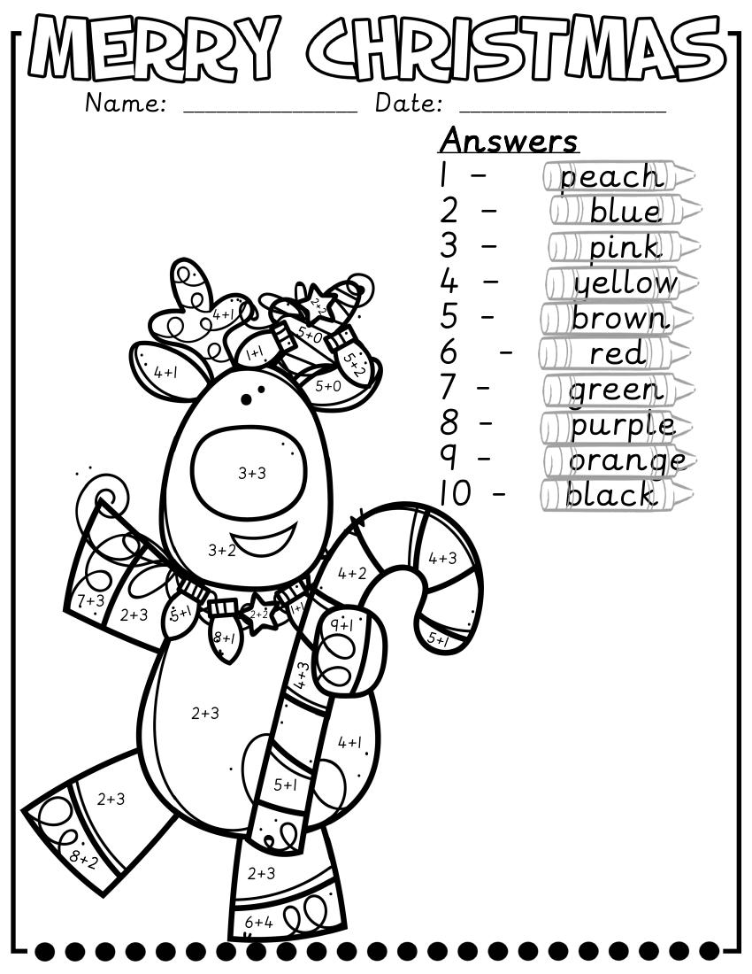 Colouradding To 10 Maths Christmas Worksheets