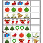 Cut And Paste Christmas Pattern Recognition Worksheet | Woo