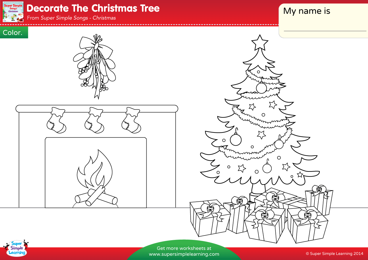 Decorate The Christmas Tree Worksheet - Color - Super Simple