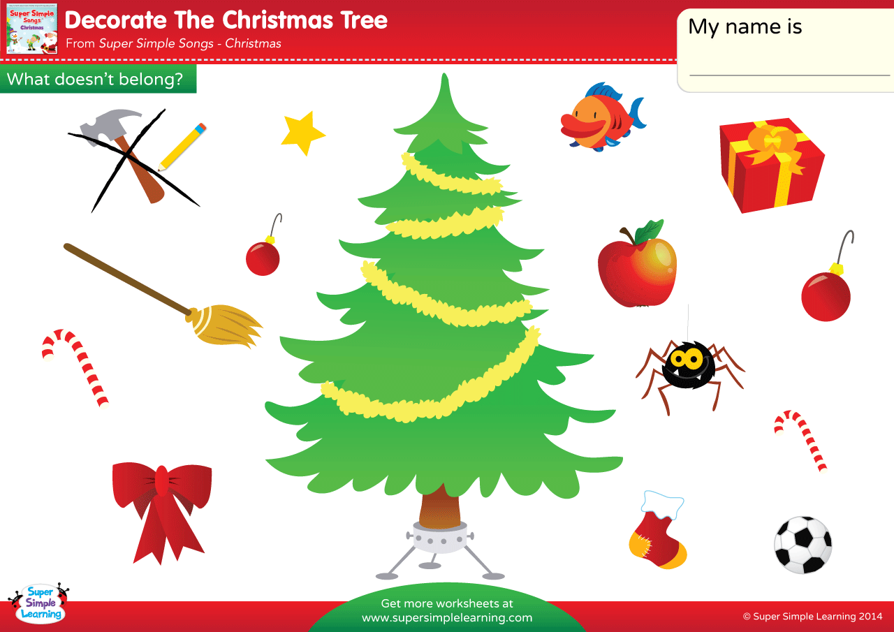 Decorate The Christmas Tree Worksheet - What Doesn't Belong