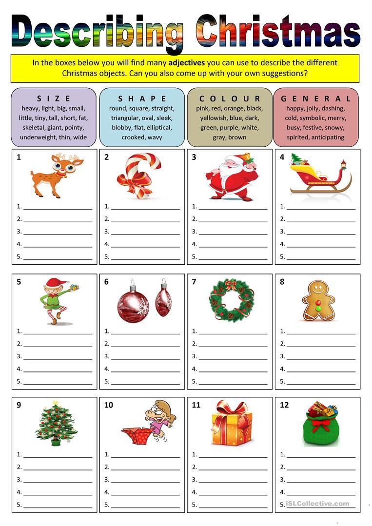 Describing Christmas (Adjectives) - English Esl Worksheets