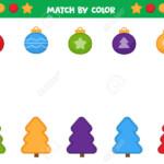 Educational Worksheet For Preschool Kids. Match Christmas Trees..