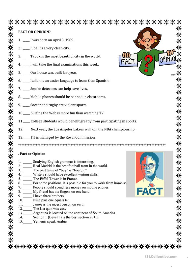Fact And Opinion - English Esl Worksheets For Distance