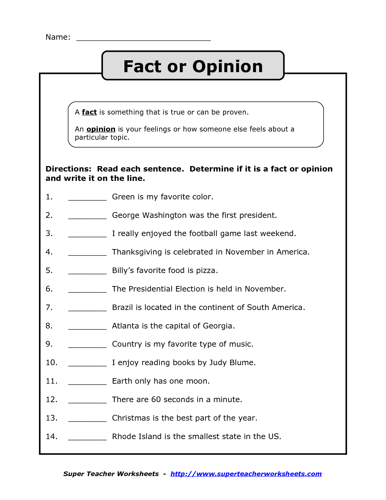Fact Vs Opinion Worksheet - Google Search | Fact And Opinion
