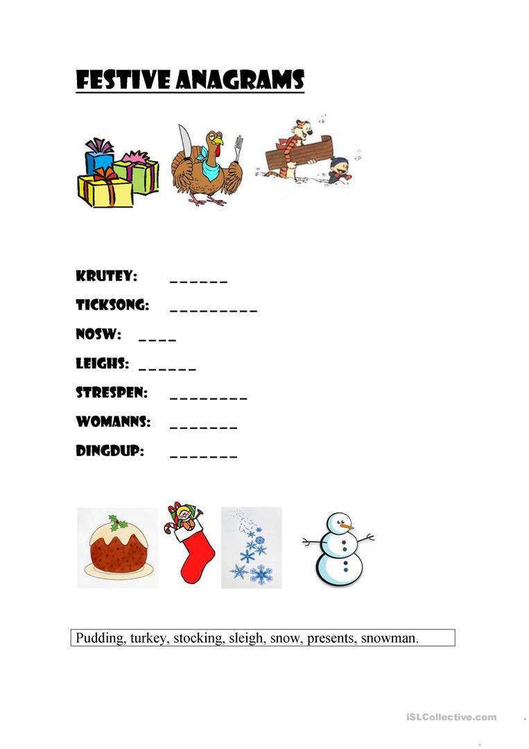 Festive Anagrams (Christmas) - English Esl Worksheets For