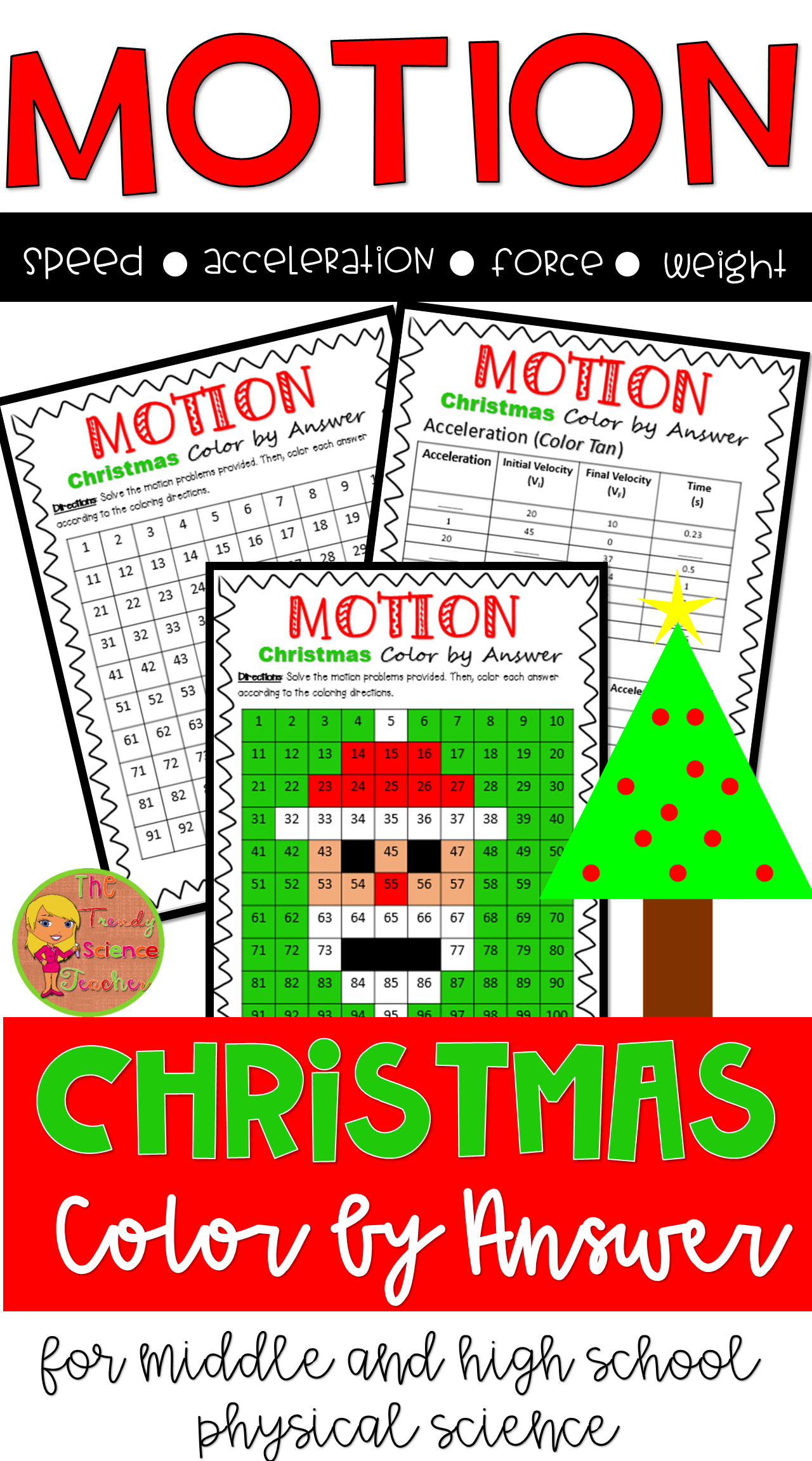 Force And Motion Christmas Worksheet For Middle And High
